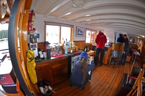 Inside the main salon onboard the MV Driftwood